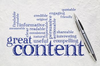 Image of a word cloud, 'great content'